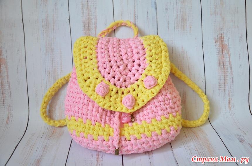 вязаный рюкзак для дочки все в ажуре вязание крючком страна мам