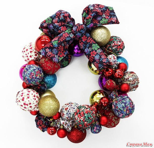 Новогодние веночки из елочных шаров