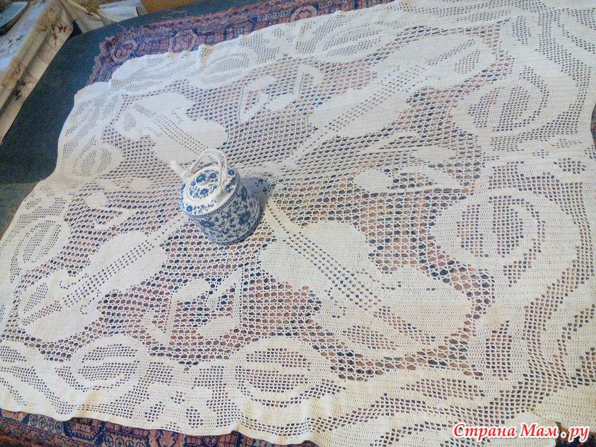 скатерть крючком филейное вязание вязание страна мам