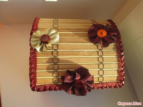Сундучок из бамбуковой салфетки.