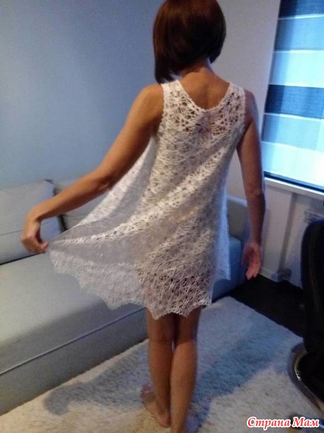 Белое ажурное платье мотивами
