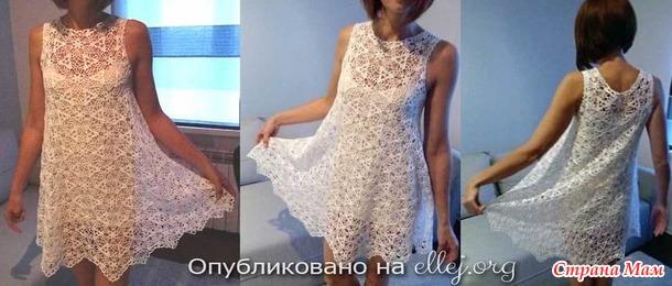 Безотрывное вязание мотивов для летнего наряда • МК в ролике