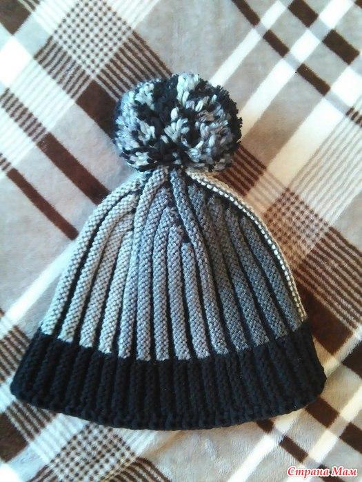 шапочка поперечным вязанием