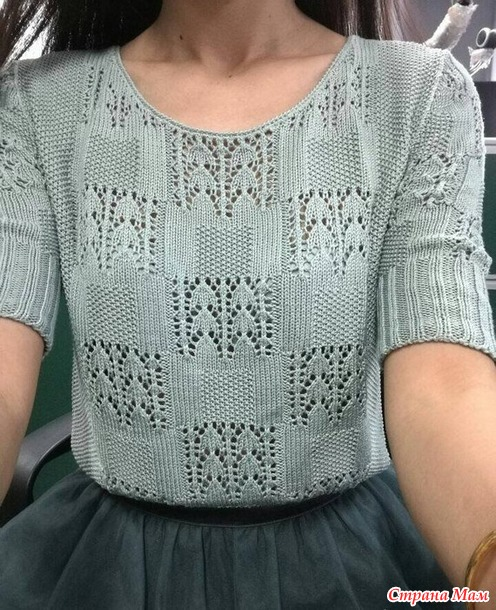 пуловер спицами из хлопка вязание страна мам