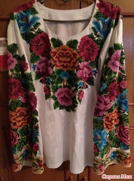 Вышивка длиною в полгода. Рубашка для мамы.