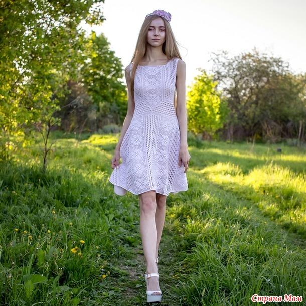 """. Платье """"Прованс"""" с филейным кружевом крючком"""
