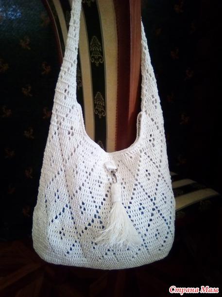 . Ажурный зонтик крючком, косынка и сумка