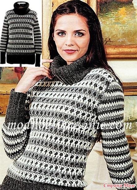 Удлиненный мохеровый свитер. Крючок.
