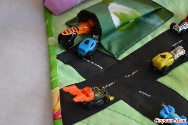 """Переносной развивающий лоскутный коврик """"Автодорога"""""""