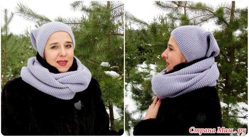 вязание шапки бини и снуда платочной вязкой вязание спицами