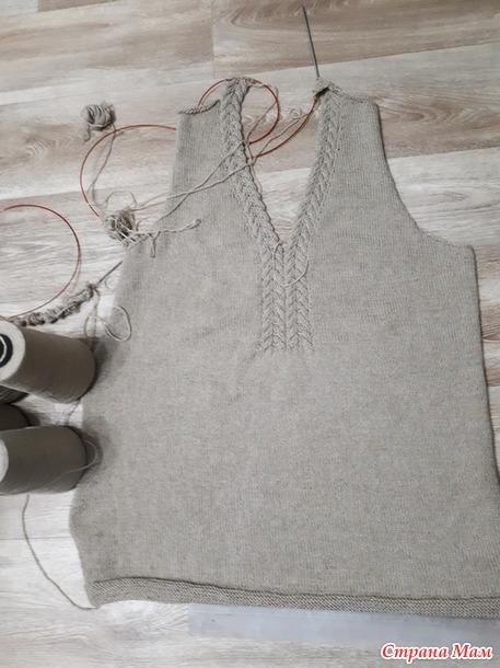 Бежевый пуловер для подруги (спицы)