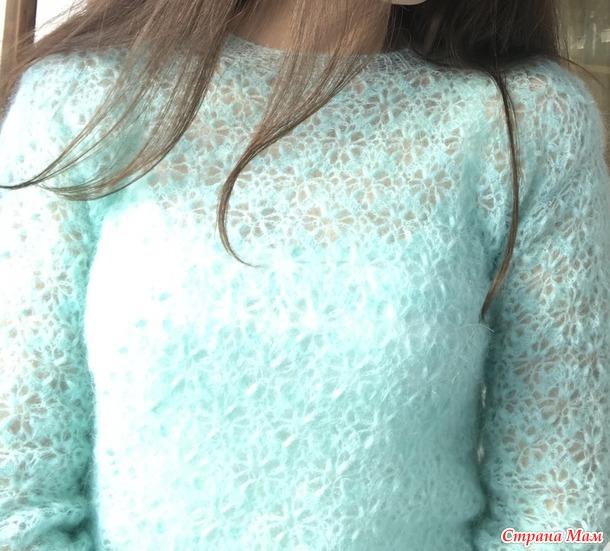 Бирюзовый свитер из Кид мохера