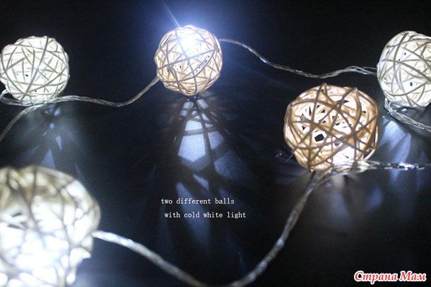 Новогодняя гирлянда с ротанговыми шариками+