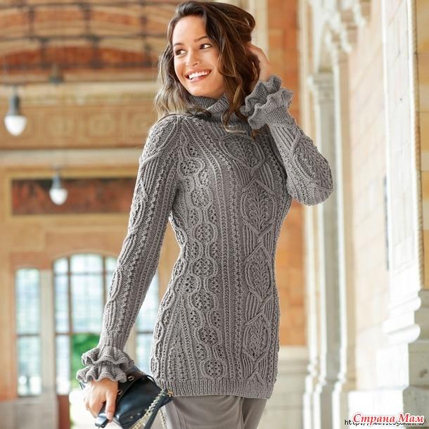 . Стильный удлиненный свитер с невероятно красивым узором спицами!