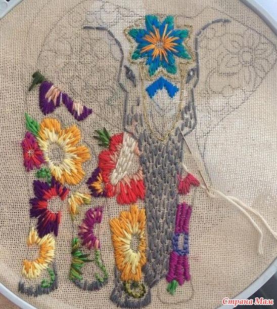 вышивка животных в стиле пэчворк