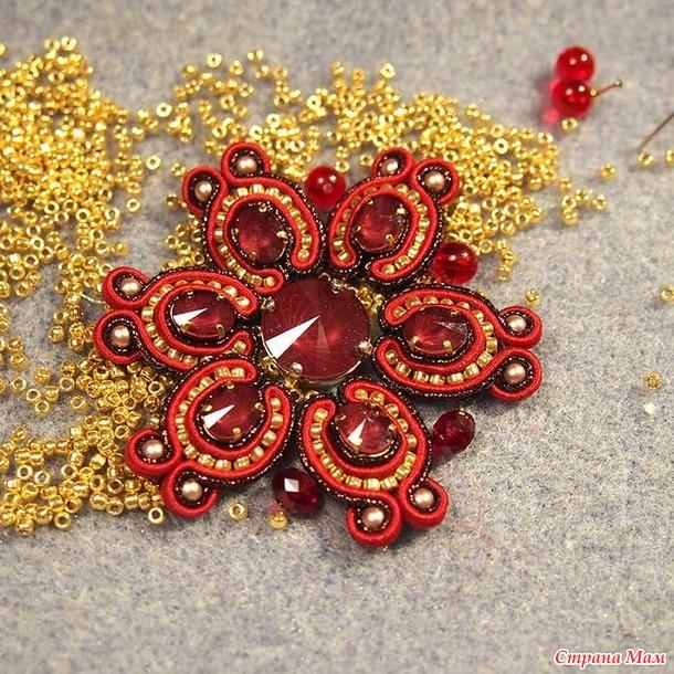 """Брошь """"Аленький цветочек"""" в технике сутажной вышивки. Мастер-класс"""