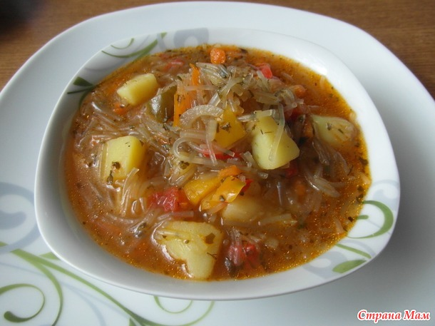 Суп Лечо с фунчозой.