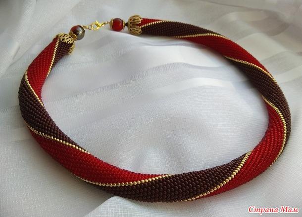 *Жгут из бисера Красно-коричневый,  Россия