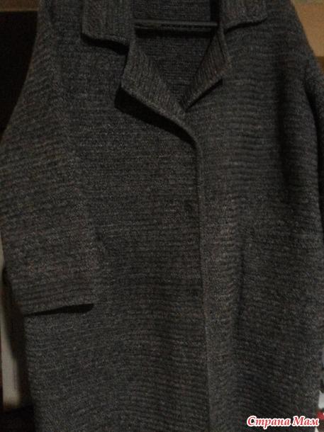 """Пальто - кокон в """"елочку"""" спицами"""