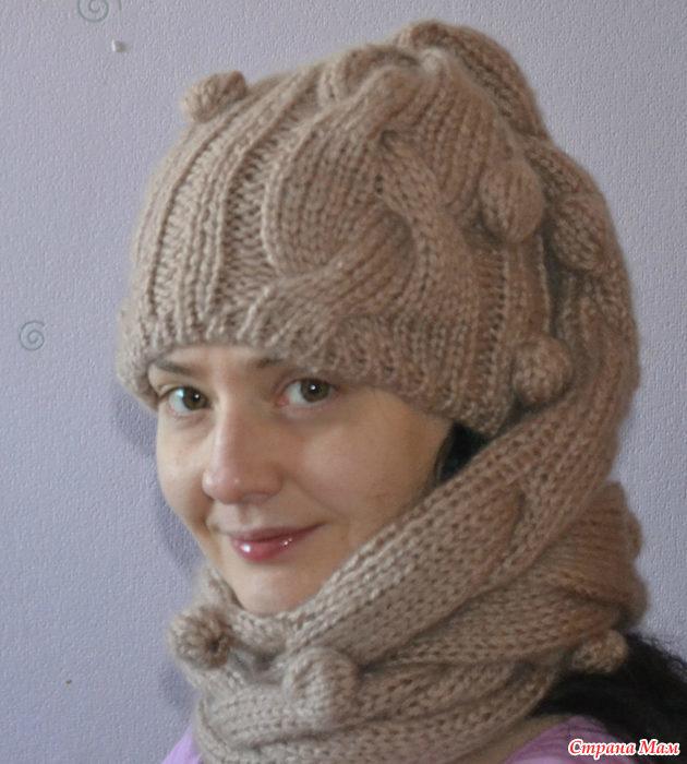 шапка шарф спицами вязание страна мам