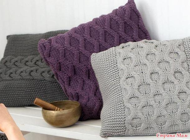 . Подборка чехлов на диванные подушки спицами (часть 2)