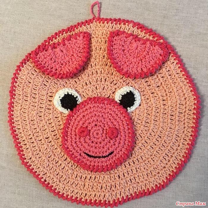 прихватка поросёнок крючком подарок к году свиньи вязание