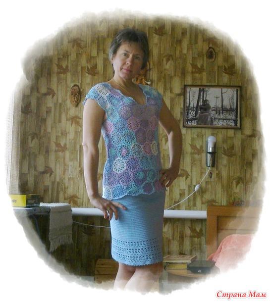 Блузка голубая из Alize Miss 480