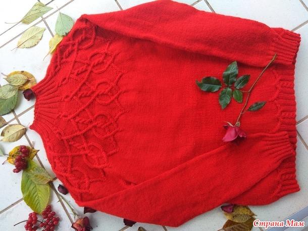. Женский свитер спицами