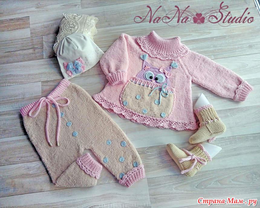 вязаный костюм для девочки сиреневая совушка вязание для детей