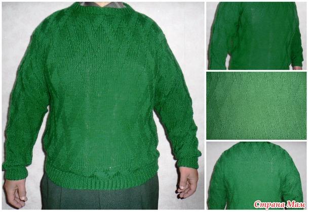 . Вязание мужского свитера несложным узором