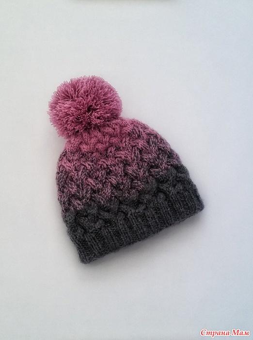 двойная шапка с косами и градиентом цвета вязание страна мам