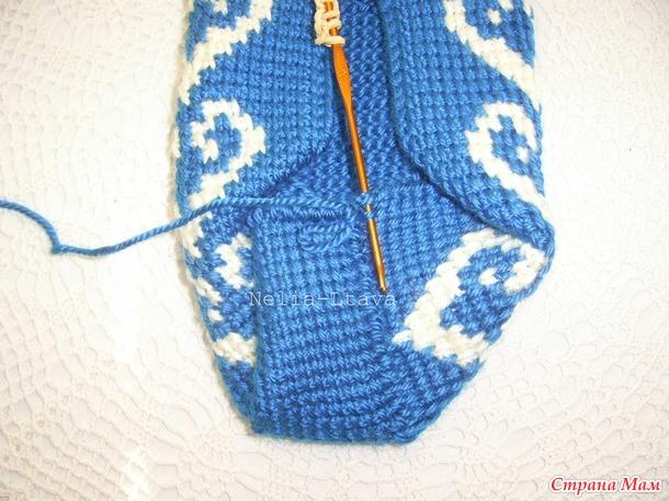 Онлайн, тапочки тунисской техникой вязания крючком