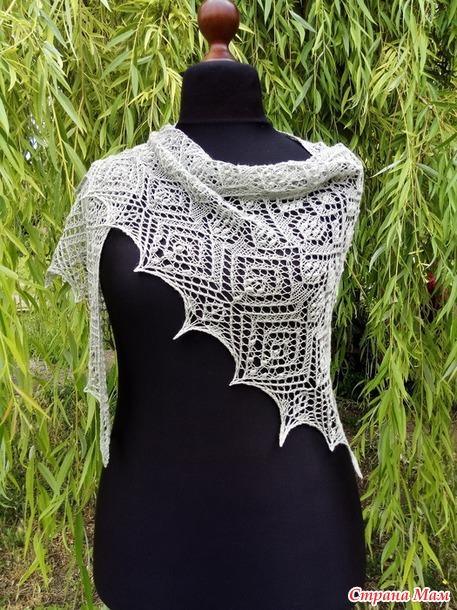 МК по вязанию спицами ажурной шали Аюми