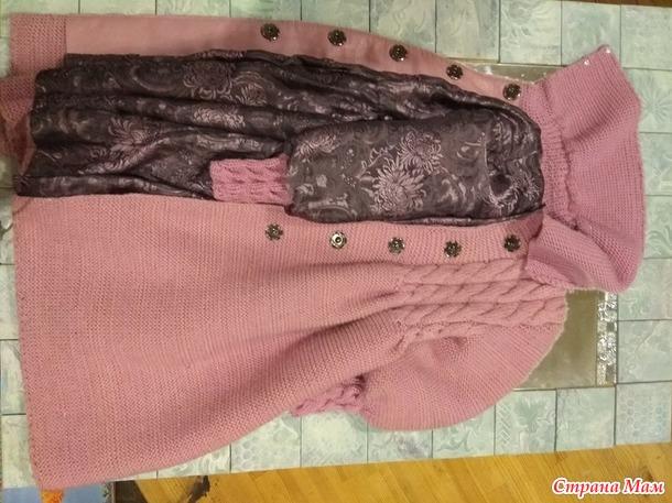 Пальто спицами внучке