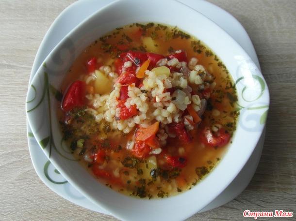Суп с булгуром на печенном болгарском перце.