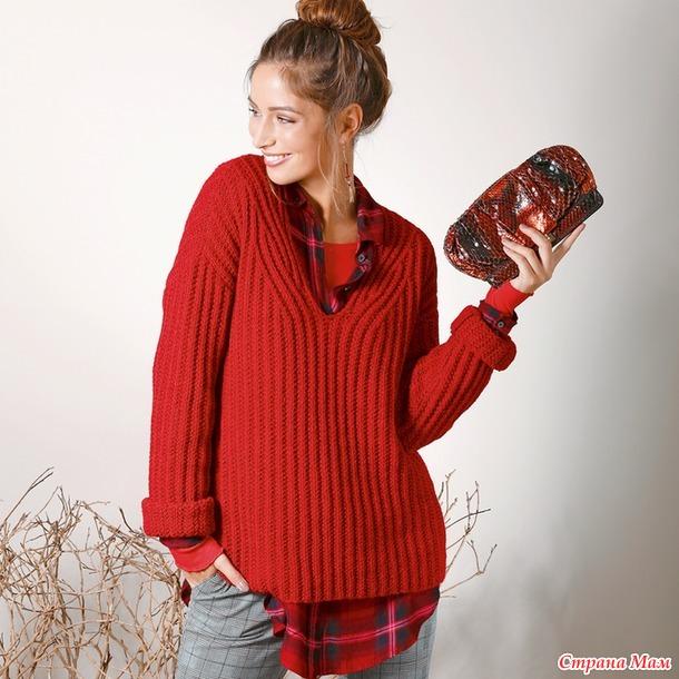 Пуловер с подчеркнутым вырезом горловины