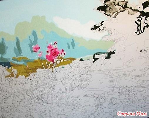 цветущий багульник раскраска начата алмазная мозаика