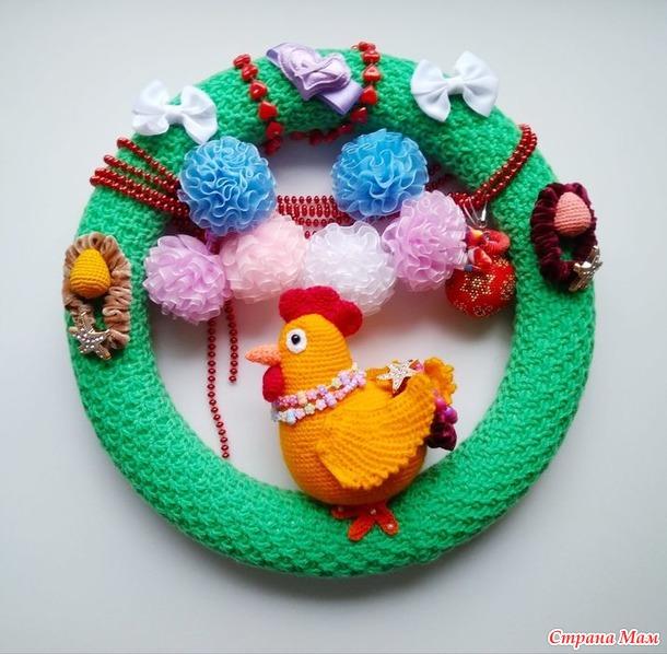 Мой Пасхальный веночек № 2 Курочка красавица из Онлайна Пасхальные веночки.