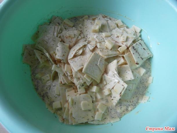 Запеканка из лаваша и сыра.