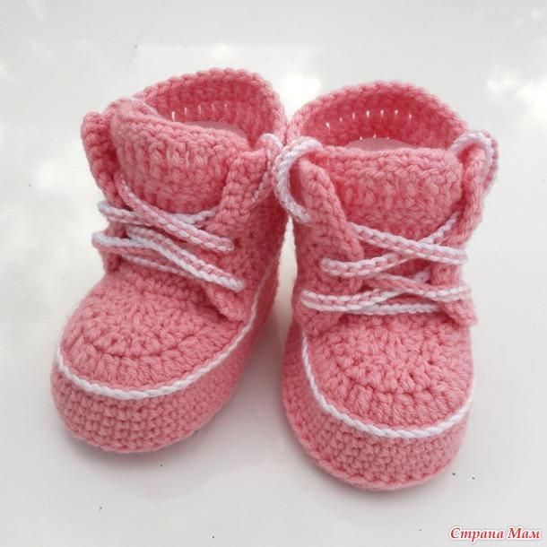 Пинетки- ботиночки для малышки 3-6 мес крючком