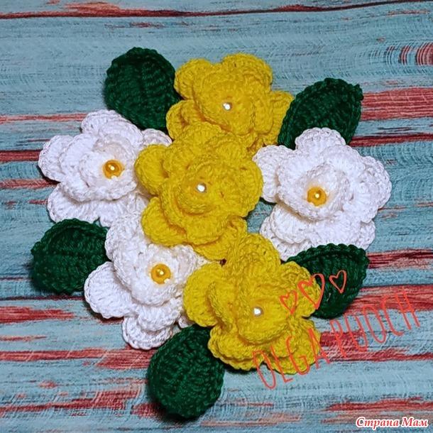 ФотоМК по вязанию маленького Цветочка крючком