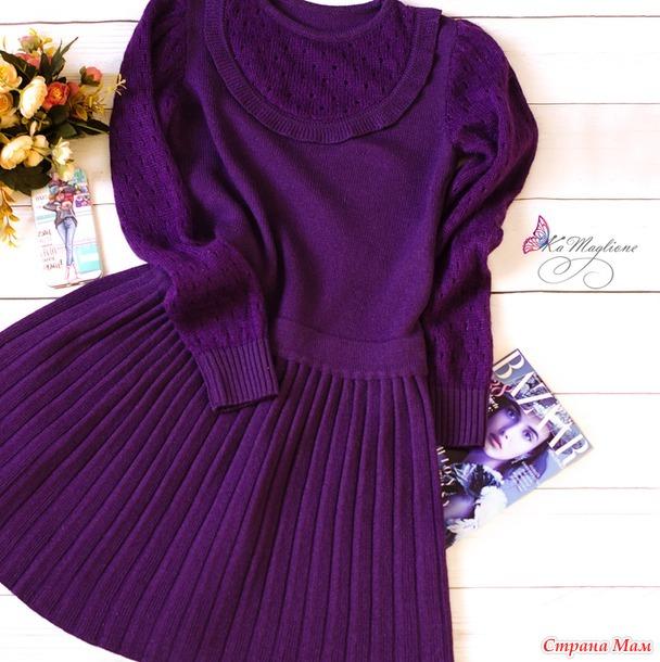 Платье плиссе со вставкой и рукавами из кидмохера