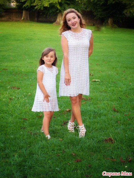 """Платья крючком в стиле """"family look"""" из Тулип от YarnArt"""