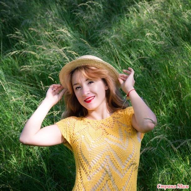 Платье по мотивам Полины Крайновой крючком из бамбука от Alize.