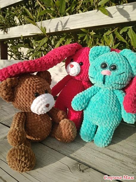 Зефирные игрушки: Зайка, Кот и Медведь