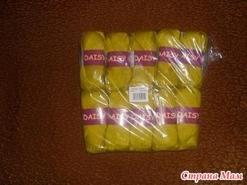 Пряжа DAISY 100% мерсеризованный хлопок, 295 м, 50 гр., горчичка цвет 4406 – 3,4р./32р. за 10шт.