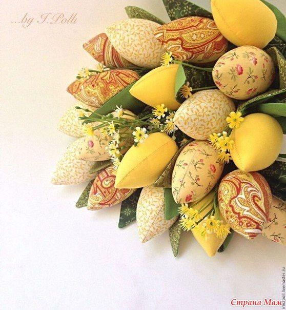 """Совместный проект: """"Шьем текстильные тюльпаны"""" Добавила : """"Тюльпаны, связанные крючком"""""""