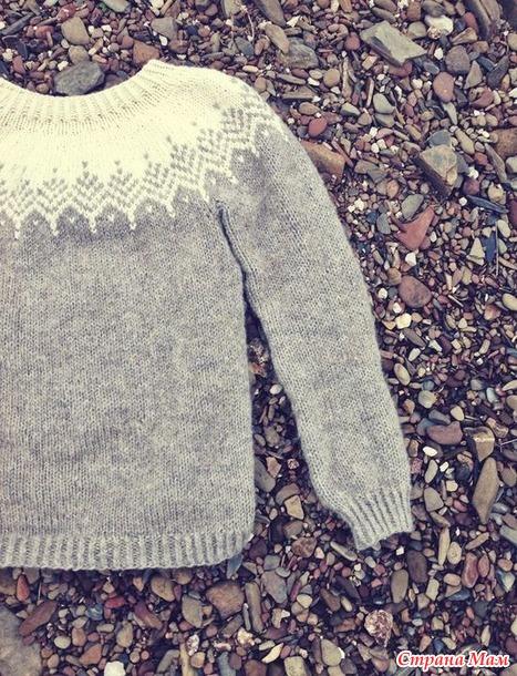 """. Пуловер с круглой кокеткой """"а-ля лопапейса"""" на размер 2-3 года"""