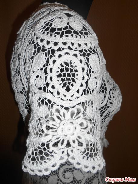 Блуза в технике ирландского кружева.