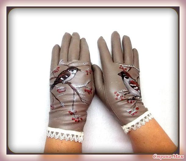 Перчатки из стрейч-кожи